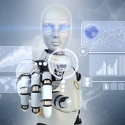 ロボットが指をさしている画像